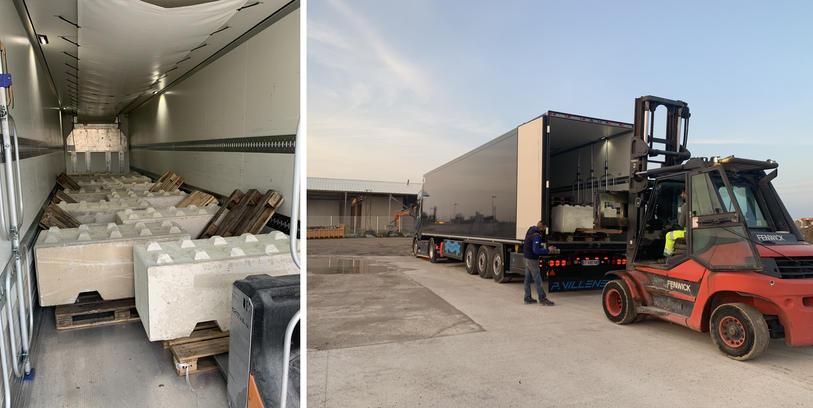 Blocs de 1200kg par unité pour passage au mines - Transports Pascal Villeneuve
